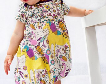 ORGANIC Baby/Toddler Bubble Dress - Unicorns - 50% OFF