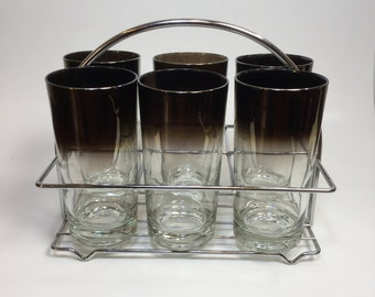 Set of 6 Vintage Dorothy Thorpe Style Drinking Glasses in Carrying Stand Mid Century Modern Glasses