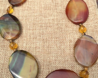 Agate and Amber Necklace