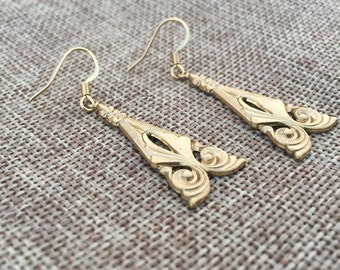 Raw Brass Floral Triangle Earrings