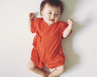 Baby kimono, rompers jinbei, japanese style, HIBANA, fabric from France