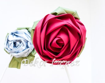 Satin Rolled Rosette Fabric Flowers with stem