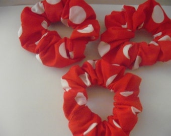 red spotty hair scrunchies