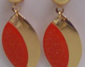 Red Acrylic/Gold-finished Steel Earrings