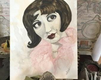 Original Watercolour Painting * Flapper Girl *