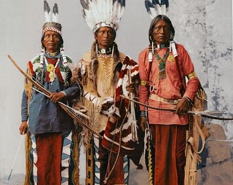 Native American Indians Apache Feathers Chief Photo Art Print Picture A4