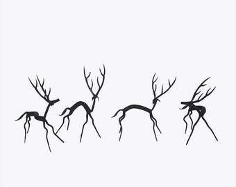 Set of Four Deer - Wrought Iron
