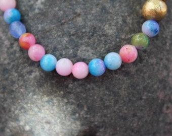 Pink and Blue Tye Dye Bracelet with Gold Leaf Wood