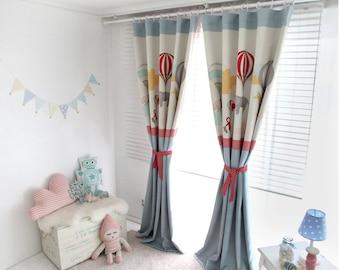Blue Adballoon Kids Blackout Curtains, Nursery Blackout Curtains, Kids Curtains, Children Curtains, Kidsroom Curtains, Kids Window Curtains