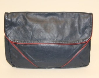 Bellisima - Vintage Navy & Red Leather Flapover Clutch