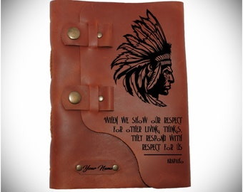 American indian journal /Leather diary/Quote notebook/ Custom sketchbook/ Leather gift/Personalized notebook