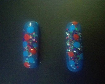 Hand Painted Resin Barette Set: Red, white and blue galaxy