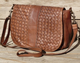 Woven Leather Bag Rose in cognac - vintage look