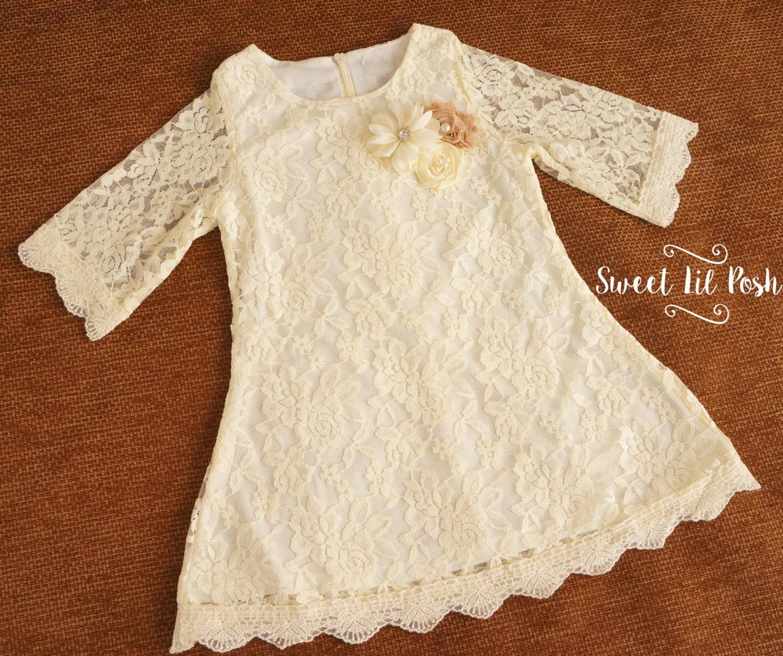 Ivory Lace Girl Dress Flower Girl Dress Ivory Flower Girl