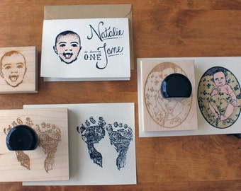 Custom Photo Stamp - Reusable Rubber Stamp on Wooden Block - Make Custom Invitations, Announcements, and Cards for Special Occasions