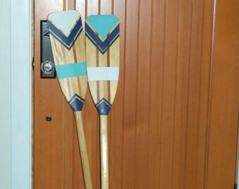 SET Hand Painted Decorative Canoe Paddle Oar Wall Art - SET - wood canoe paddle, nautical, decor, rustic, lake, decor, wall hanging