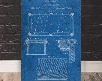 Pool Table, Billard Table, Billard Cushion Patent Print