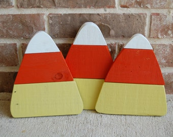 Trio of Candy Corn Home Decorations made from reclaimed wood Fall / Halloween decor