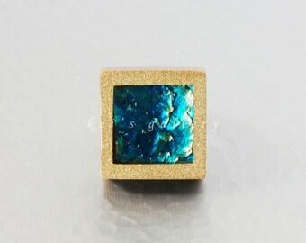 Square pendant: Sazanami (ripples), Marine blue