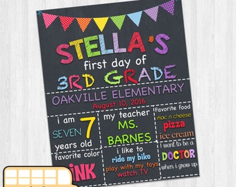 First day of school 3rd grade chalkboard sign back to school sign
