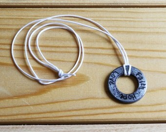 Engraved washer necklace with CUSTOMIZABLE phrase!