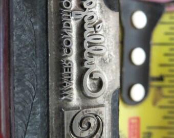 Vintage Zinc/Lead printing block- letterpress- Culligan logo