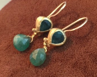 lovely gold vermeil and green agate drop earrings