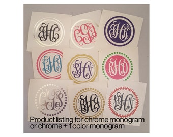 Chrome Monogram | Monogram Decal | Vinyl Monogram Decal | Custom Monogram | Monogram Vinyl Decal | Interlocking Monogram | Vine Monogram