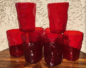 Mid Century Morgantown Ruby Glass Tumblers Set of Eight