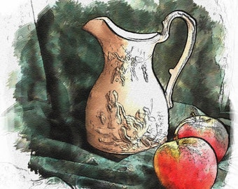 "Print of ""White Pitcher with Apples"" Photograph - 8"" X 10"" - Still Life - Digitally Altered"