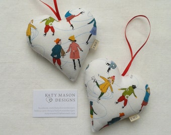 SALE - Christmas Skaters Hanging Heart