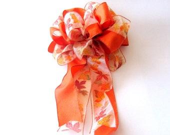 Wreath Bow / Autumn Bow / Fall Wreath Bow / Orange Bow / Fall Leaves Bow / Fall Decoration Bow / Gift Bow
