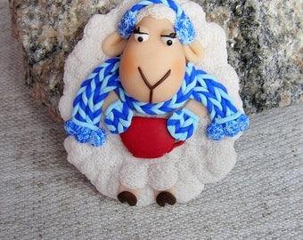 Christmas gift idea Brooch cute white lamb girl lamb brooch girl gift winter brooch baa-lamb brooch gift child Sheep brooch animal brooch
