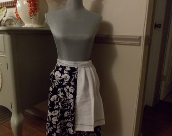 Black and White Floral Apron