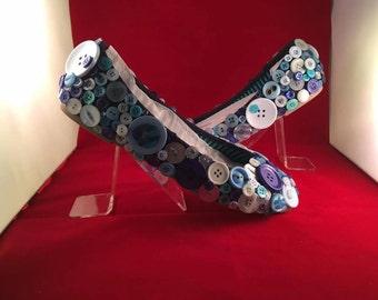 "Bridal Shoes Button Blue Flat Wedding Shoes  ""Something Blue"""