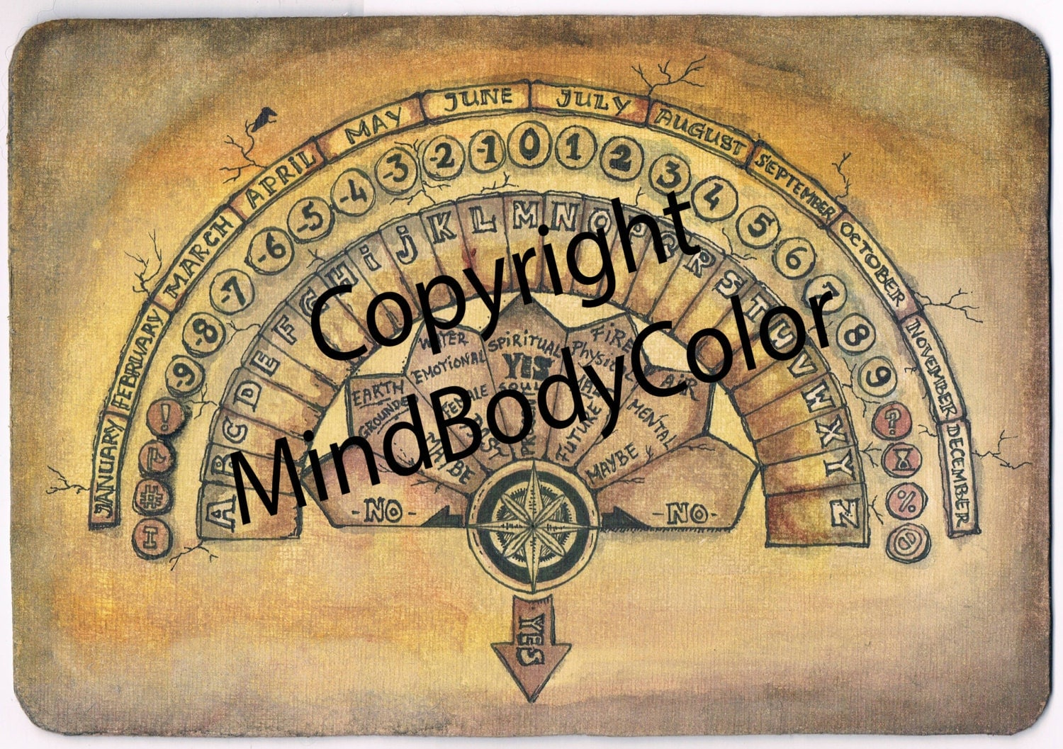 It is a photo of Punchy Printable Ouija Board
