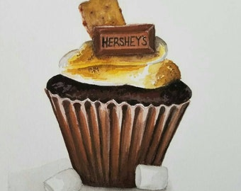 S'mores Cupcake- 5x7 Original Watercolor Commission
