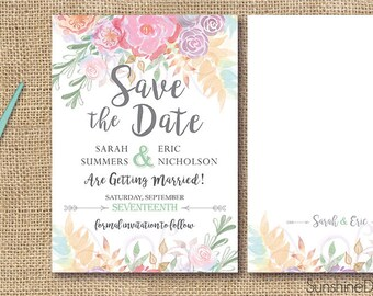 Soft Peony Floral Wedding Save the Date Announcement with Whimsical Flowers - Customizable Digital Design