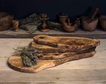 Olive wood chopping board rustic edge