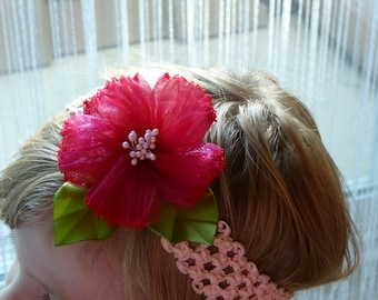 Baby/toddler pink organza handmade flower on peachy stretchable headband