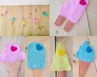 Felt ice cream garland