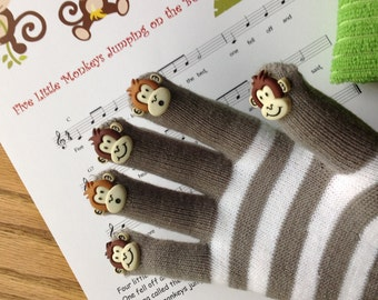 Five Little Monkeys Jumping on the Bed, Hand Puppet, Song, Activity, Toy, Kids, Preschool Fun, Gift