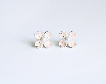Enameled PINK CHERRY Blossom Silver with PEARL earring / ear studs