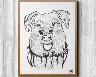 Schnauzer Dog A4 A5 illustration, print, art, dog print, dog drawing, schnauzer illustration, schnauzer drawing