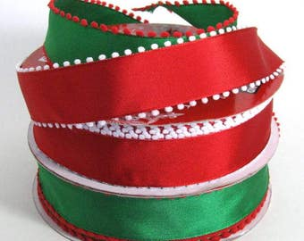 """1 1/2""""  Red or Green Pom Pom Edged - Wire Edged Ribbon"""