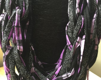 Designer purple and black chain scarf