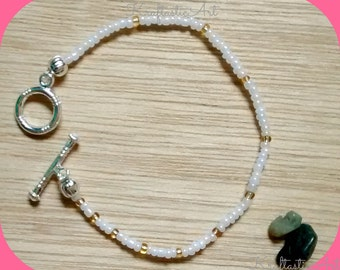 Delicate elastic czech glass bead Anklet