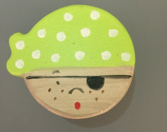 Cute Pirate Drawer Knobs! Little boys just love them. Fun addition to any kids room. Lime Green and Light Blue.
