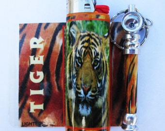 Matching Tiger Pipe and Lighter