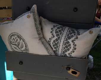 Hand Printed Vintage Pillows